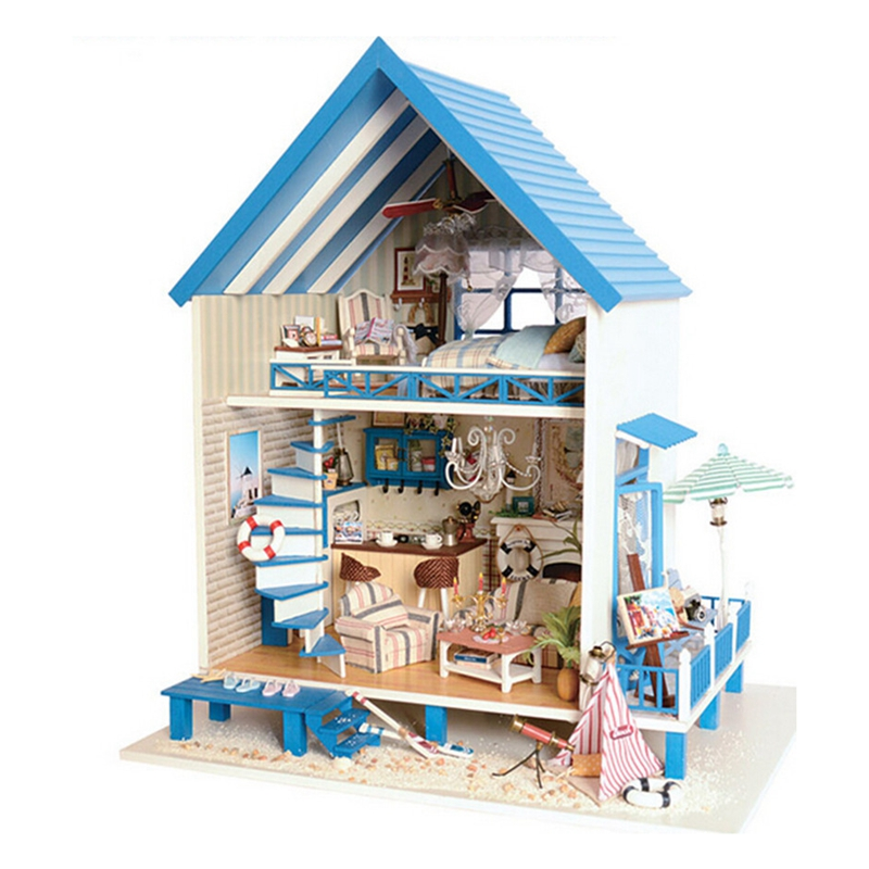 Christmas Gift Diy Doll House Model Building Kits Wooden Miniature 3D Handwode Dollhouse Miniature Greative Gifts wooden 3d building model toy gift puzzle hand work assemble game woodcraft construction kit merry christmas castel shop store