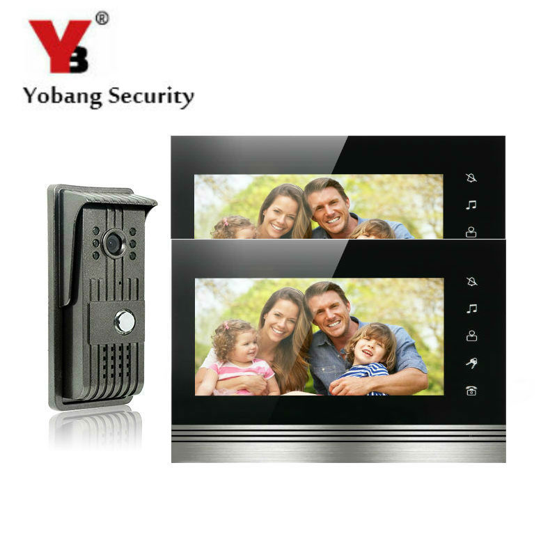 YobangSecurity 7 Inch Color Touch Button Video Door Phone Doorbell Intercom Entry System Kit With Metal Case 1 Camera 2 Monitor yobangsecurity rainproof video door phone doorbell 7 inch home entry intercom system kit 2 monitors 1 camera with rfid id keyfob