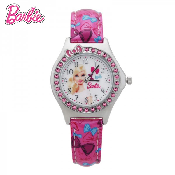 100% Genuine Barbie watch relogio for girls pink bowknot with diamond princess watch Montre Enfant Brand Wristwatches ba00119-1