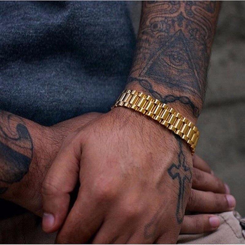 15mm aço inoxidável metal link pulseira pulseira para homens de luxo pulseiras em tom de ouro pulseira pulseira braslet jóias masculinas