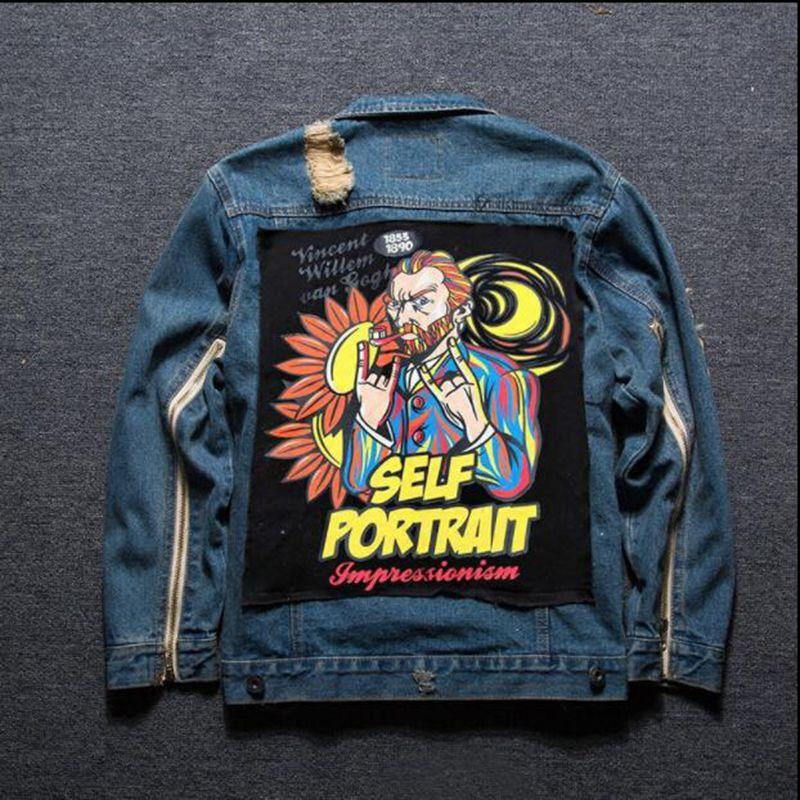 2018 Harajuku Mens Clothing Graffiti Patch cloth denim Jackets male Skull cartoon patter ...