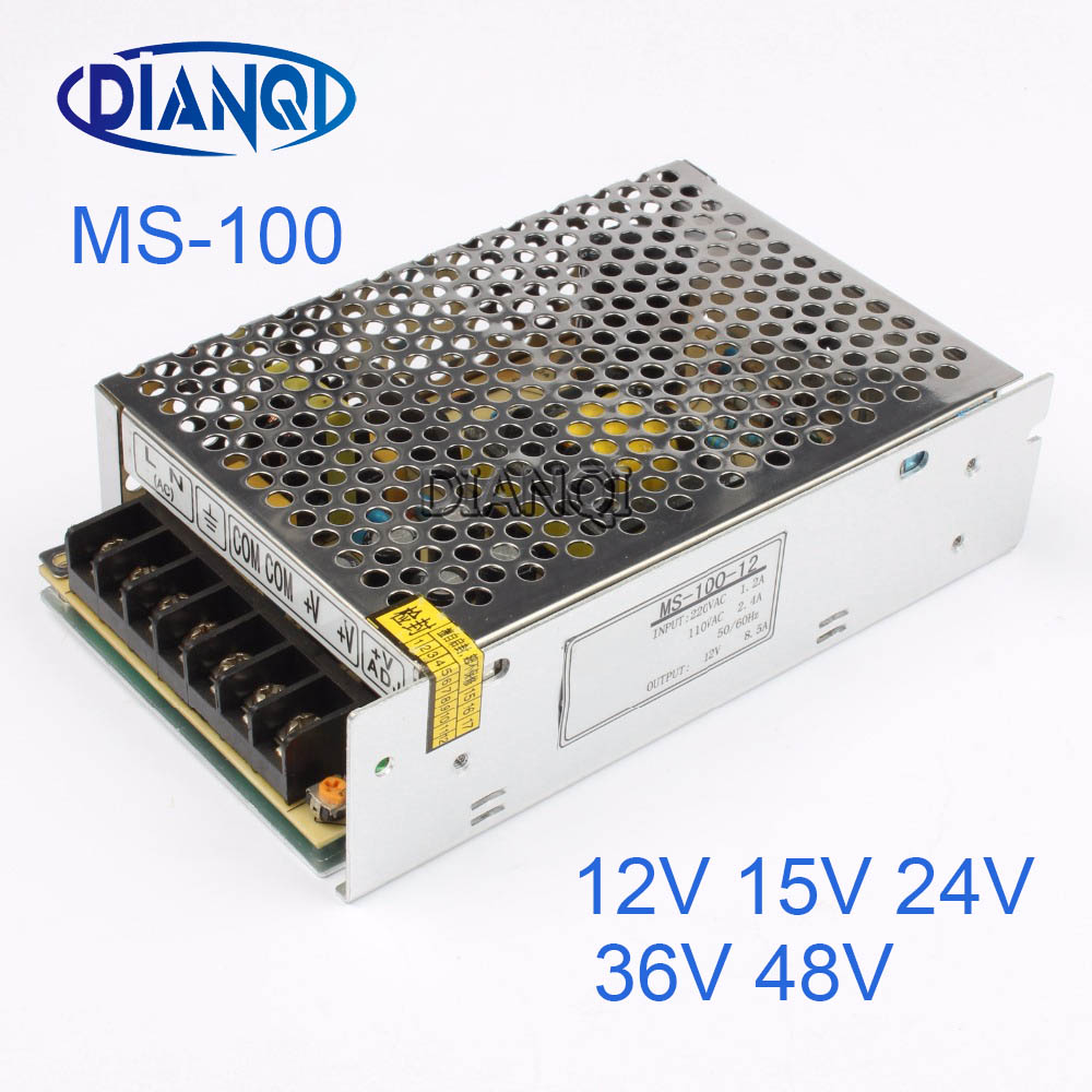 DIANQI Mini Size Switching Power Supply adjustable 12V 36V 48V Output 100W ac to dc regulator for LED strip ms-100 15V 24V mini size 50w 36v 1 4a switch mode led light devices switching power supply ac dc psu 100 110 220 230v ms 50 36