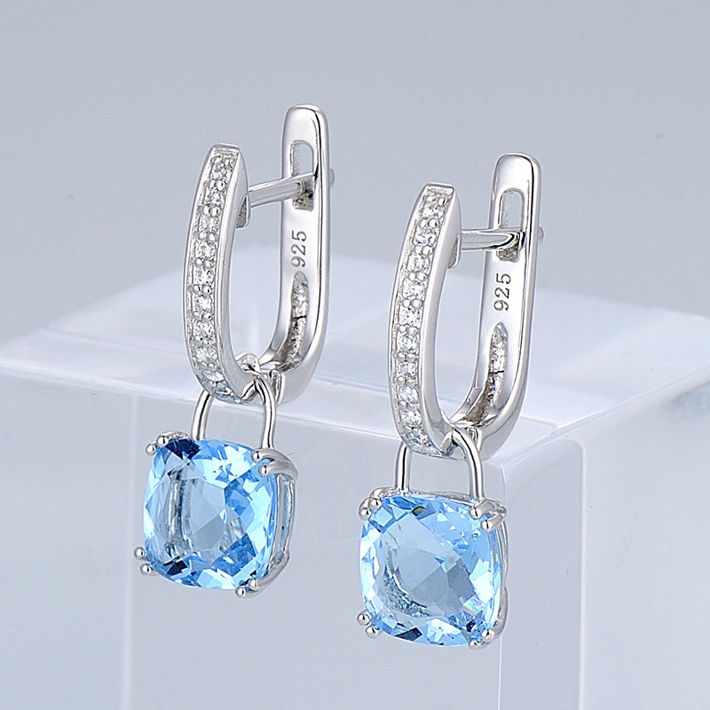 SANTUZZA Silver Earrings For Women 925 Sterling Silver Dangle Earrings серьги Sky Blue Cubic Zirconia brincos Fashion Jewelry