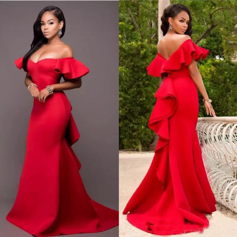 Gorgeous Red Off Shoulder   Prom     Dresses   2019 Backless Mermaid Evening Gowns Saudi Arabia Ruched Sweep Train Formal Party   Dresses