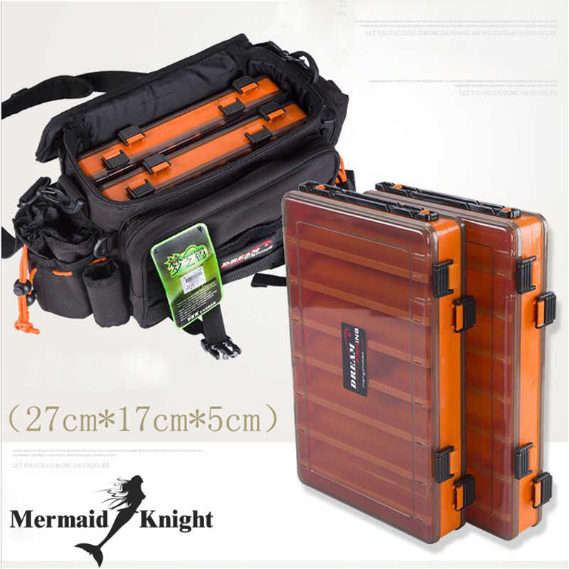 Fishing Bags Fishing tackle bag 29x22x18cm Multi-Purpose Waterproof  With Two Fishing Lure Box Double Sided Tackle Box