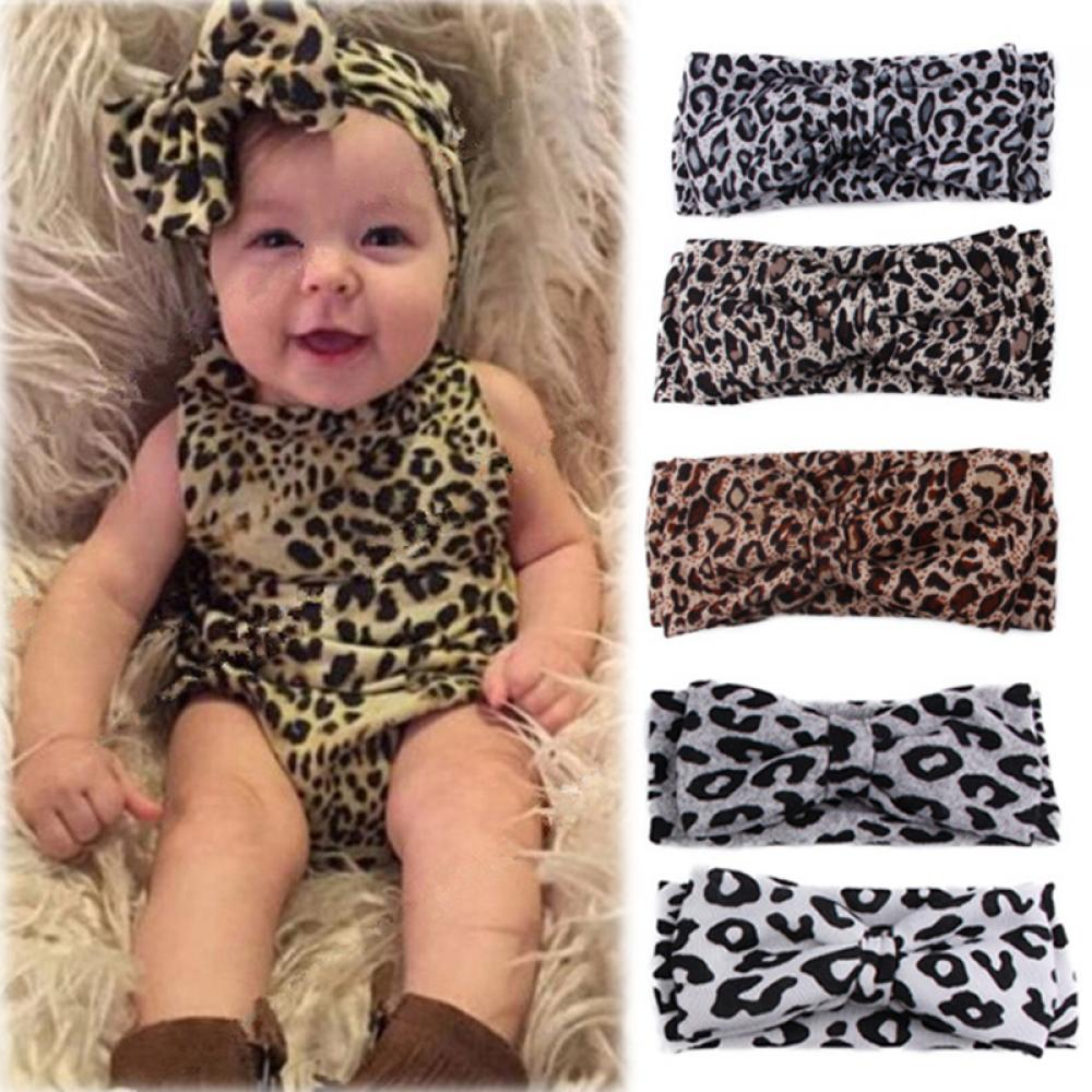 Headbands Ribbon Hair-Band-Accessories Bow Stretch Leopard Elasticity Kids Flower Knot