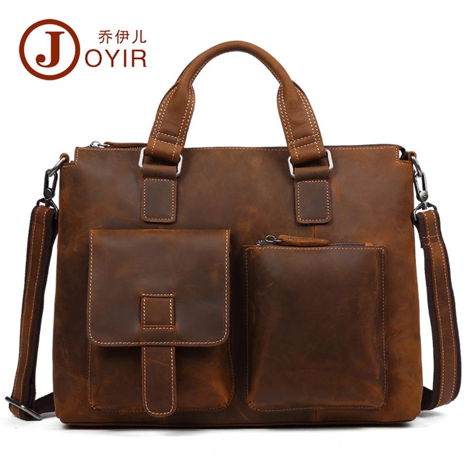 Genuine Leather Briefcases Men Bag High Quality Crazy Horse Handbags Office Bags For Mens Messenger Bag Men Leather Laptop Bag