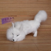 new white simulation fox toy handicraft lifelike bow fox doll gift about 29x8x13cm