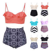 S M L Size Bikinis Women Swimsuit High Waist Bathing Suit Plus Size Swimwear Push Up