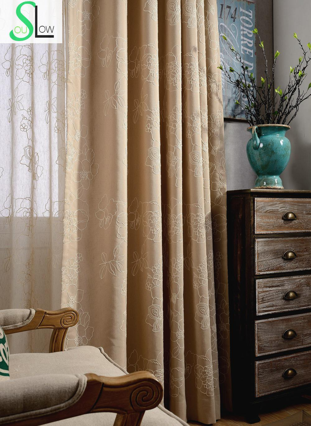 Elegant embroidered linen blackout curtains for living for Cortinas black out