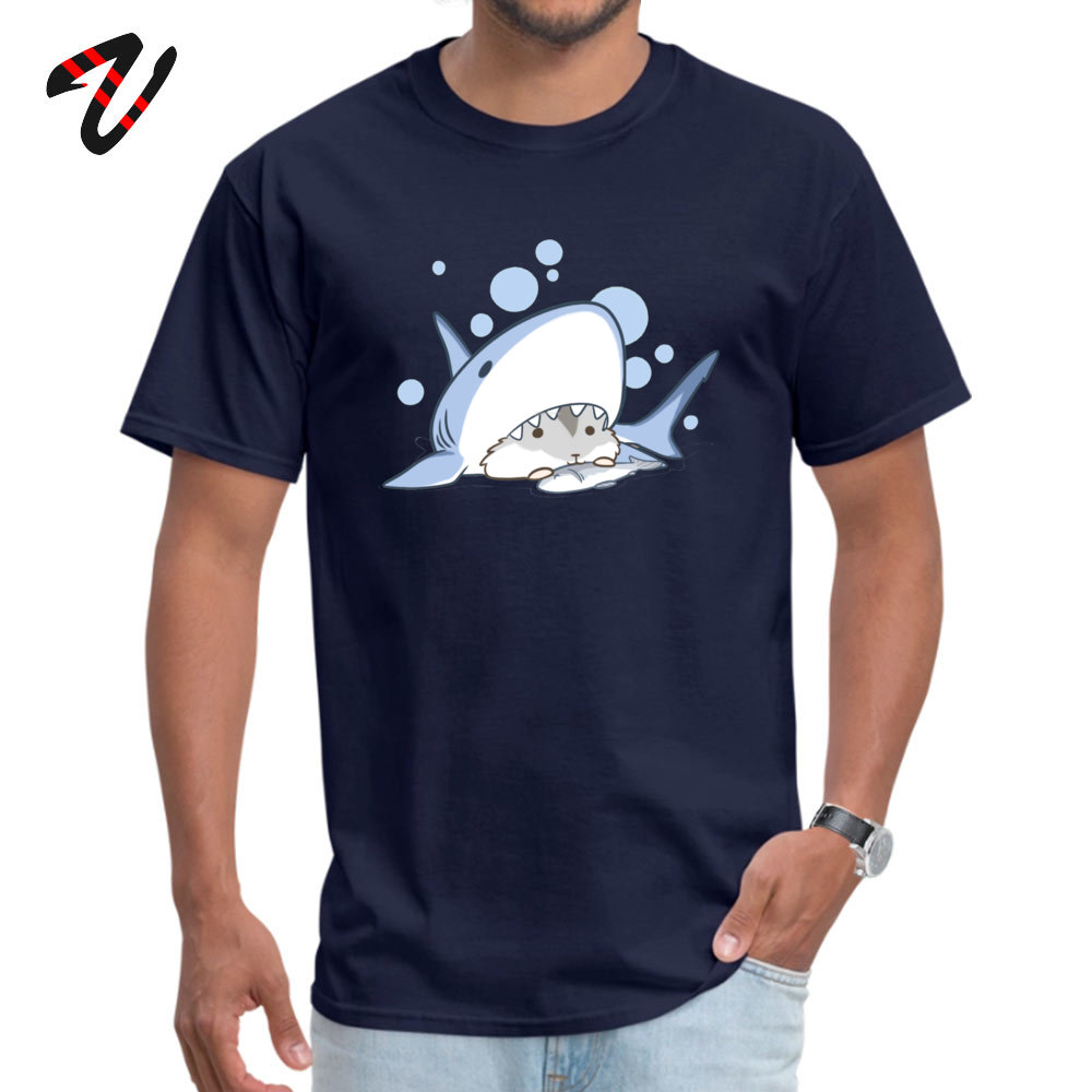 Coupons Hamster Shark Comics Short Sleeve Top T-shirts Mother Day O Neck Pure Cotton T Shirt for Men Top T-shirts Printed On Hamster Shark 2303 navy
