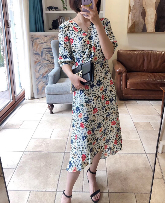 Women Floral Print V Neck Midi Dress 2019 Summer New Short Sleeve Long Dress