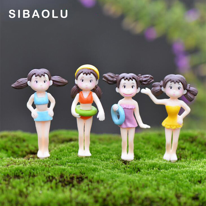 Dollhouse Miniatures In Las Vegas: 4pcs Summer Swimming Girl Figurine Xiao Mei Totoro
