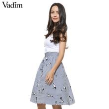 Women sweet birds print mid-calf striped skirts open stitch buttons design summer casual streetwear skirts BSQ476
