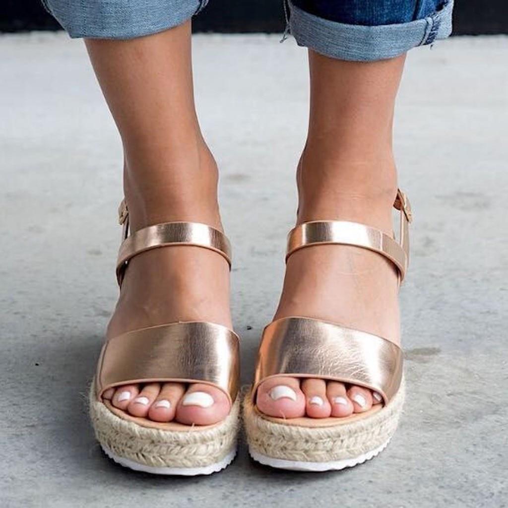 Fashion Sandals Shoes Buckle-Strap Wedges Platform Swomen Peep-Toe Summer Retro Leisure