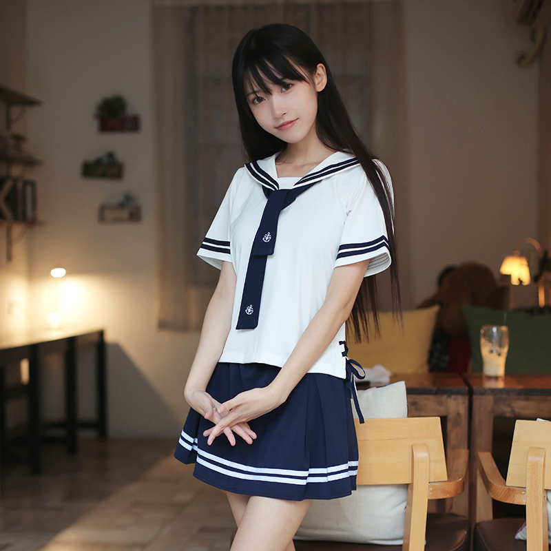 New 2018 Hot Japanese School Uniform Girls Korean Uniform School Wear Summer White Navy Shirt +Skirt Clothing 2 Colors 4 Style