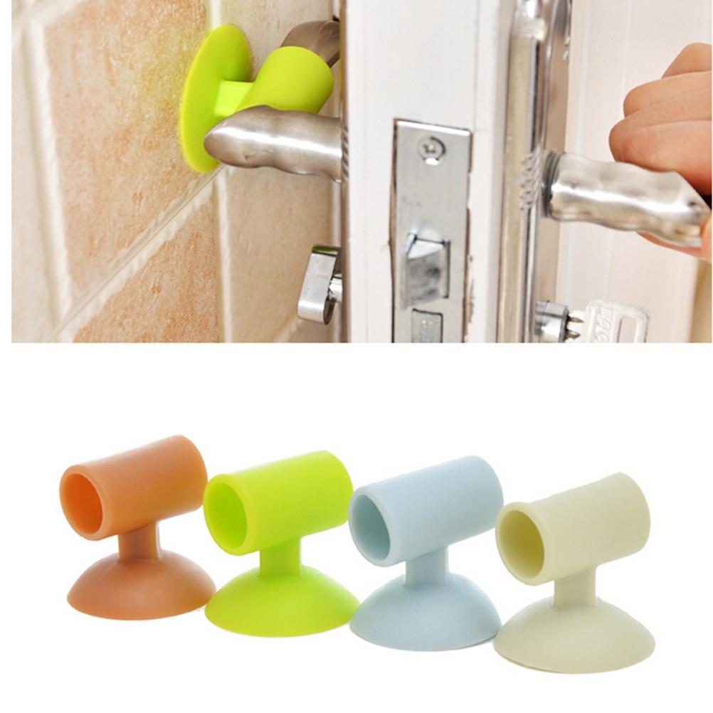 2PCS Door Handle Knob Crash Pad Wall Protectors Self Adhesive Bumper Guard Door Stopper Anti Collision Stops Stick Silicone(Color:Random) - intl