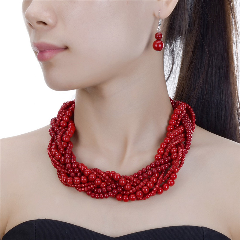 JEROLLIN 8Color Wedding Jewelry Sets Multi Layer Big Beads Statement Necklace Sets African Beads Jewelry red color african beads jewelry sets two layer beads indian jewelry sets luxury statement choker necklace fashion jewellery