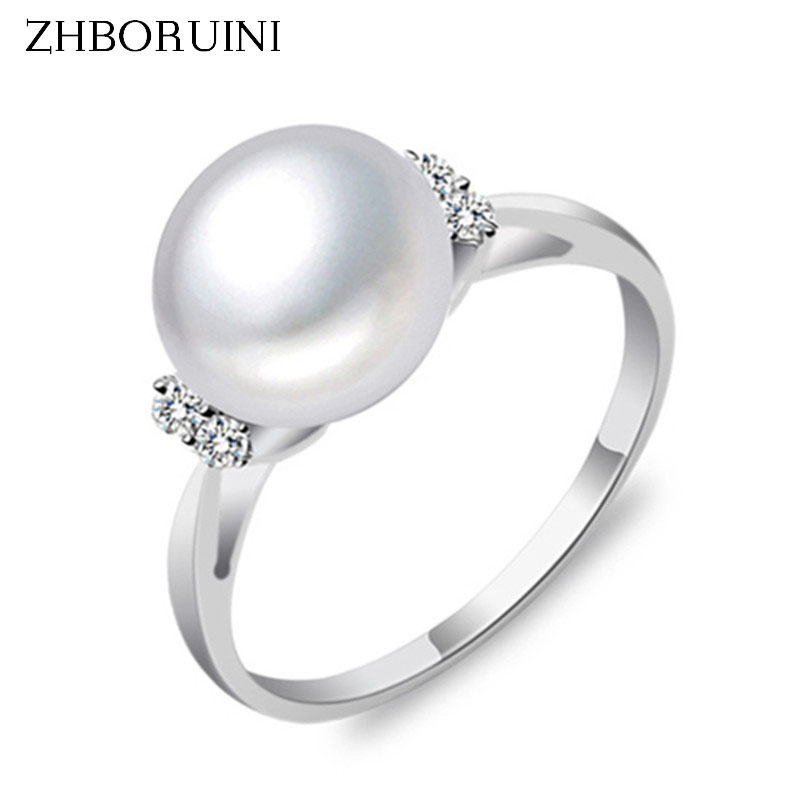 ZHBORUINI Fashion Pearl Ring Pearl Jewelry Natural Freshwater Pearl 925 Sterling Silver Jewelry Rings For Women Wedding Gift vintage pearl ring ancient real 925 sterling rings for women 2019 new fashion bohemia jewelry