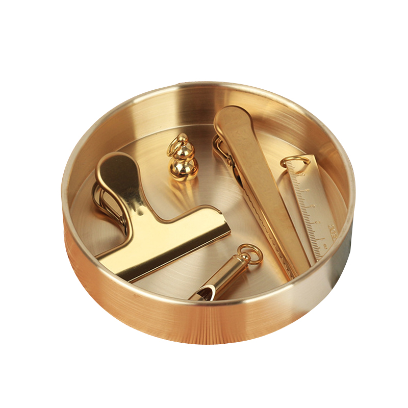 Rose Gold Stainless Steel Home Office Storage Round Trays Boxes Clip Organizer Desktop Holder Protector Decor Organization Items