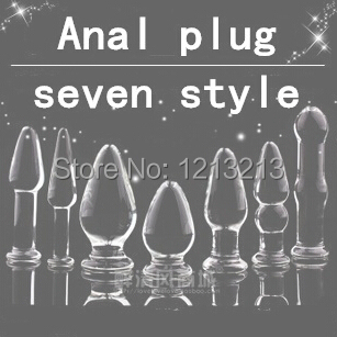 Free Shipping Seven design Glass Mini Women's G-Spot Stimulating Butt Plug Great Anal Toys Sex Toy Adult Product