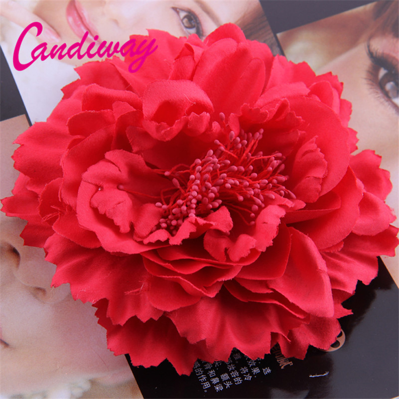 2017 New Arrival Red High Quality Flower Hair Clip font b Women s b font Hair