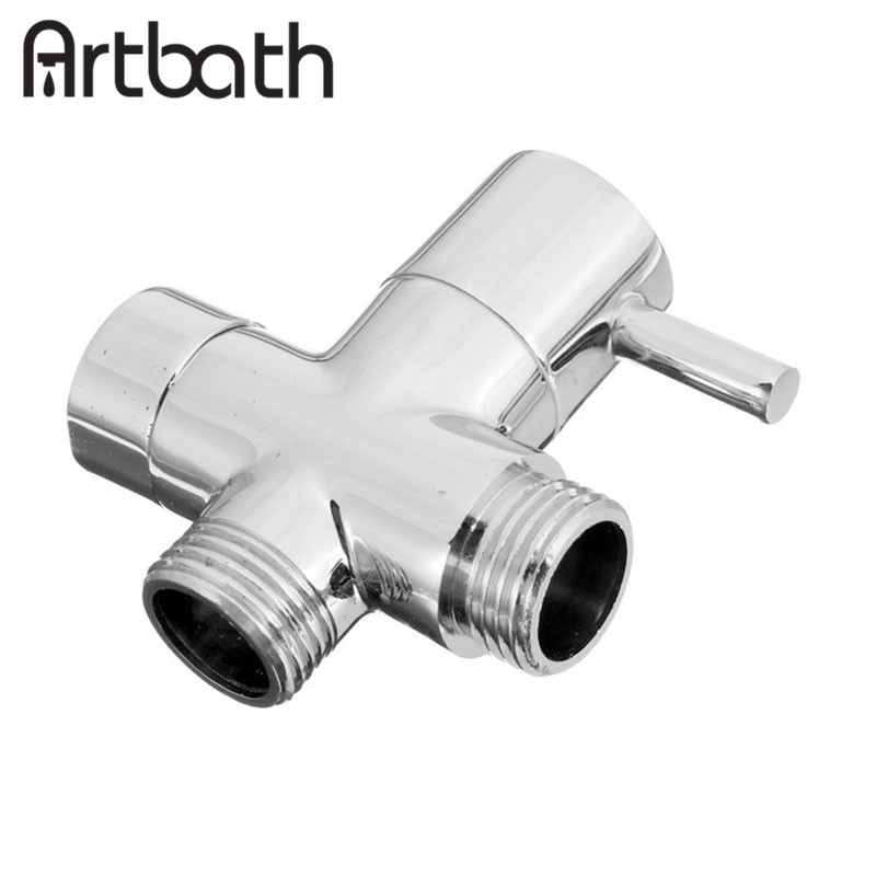Artbath brass 1 2 bathroom shower head diverter faucet tee connector chrome plated 3 way switch for Chrome plated brass bathroom accessories