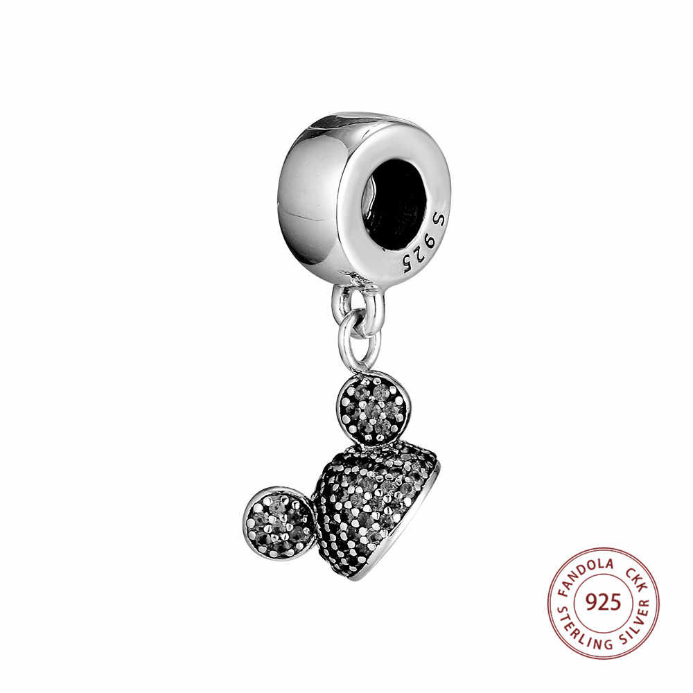 100% 925 Sterling Silver Sparkling Ear Hat Dangle Black CZ Charm Beads Original Jewelry Making Fits Brand Bracelet Berloque