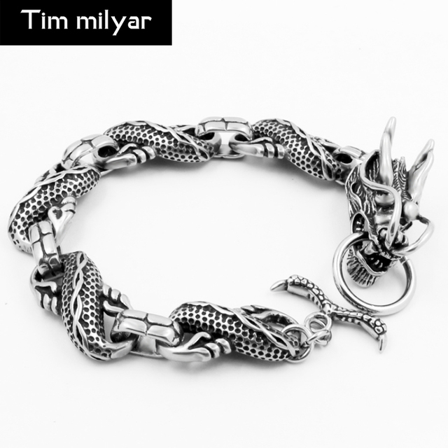 2017 New Dragon Charm Bracelets 316l Anium Steel Animal For Men Lucky Vintage Rock