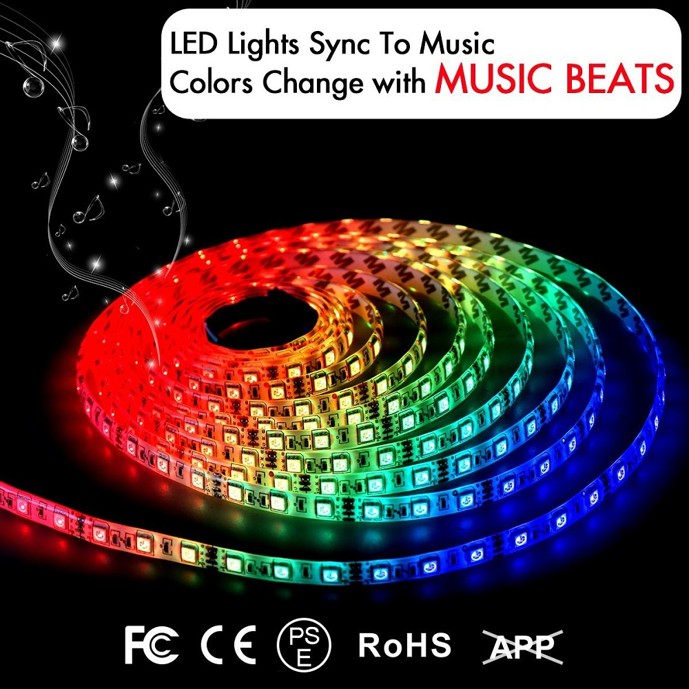 RGB LED Strip Lights Sync To Music 5M 150 LED Lamp SMD 5050 Waterproof Flexible Strip Lamps IR Controller Screen TV Night Light