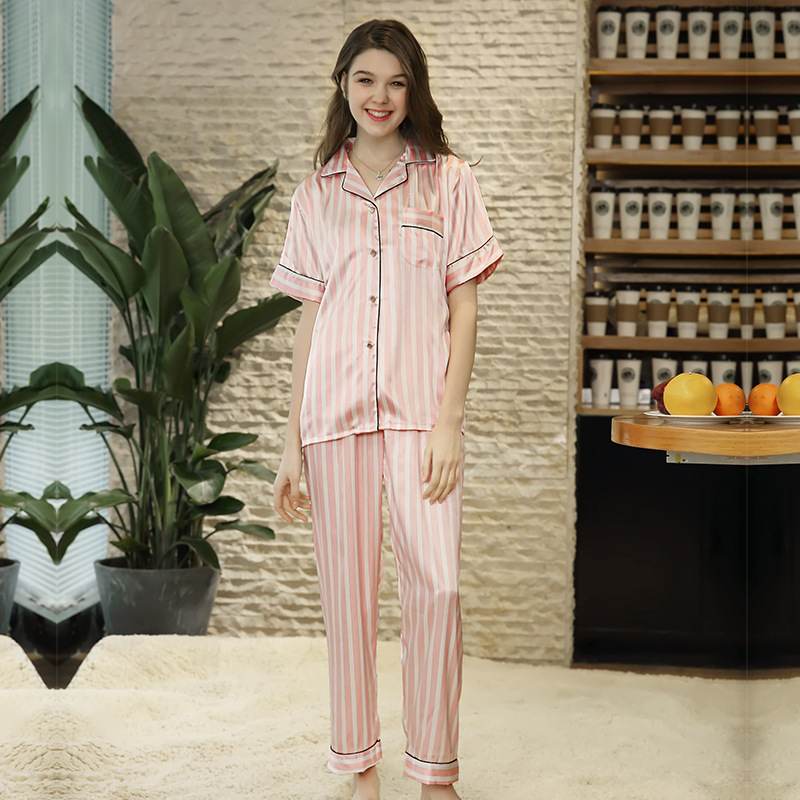 Summer New   Pajamas     Set   Women 2 PCS Sleepwear Sexy   Pajamas   Suit Silky Feel Shirt&Pant Female Home Wear Soft Home Clothes
