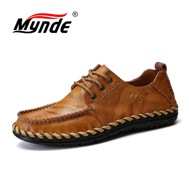 Mynde 2018 Fashion Comfortable Casual Shoes Loafers Men Shoes Quality Genuine Leather Shoes Men Flats Hot Sale Moccasins Shoes