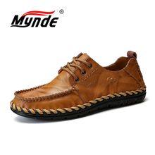 Mynde zapatos casuales cómodos para hombre, mocasines de piel auténtica de calidad, planos, gran oferta, 2018