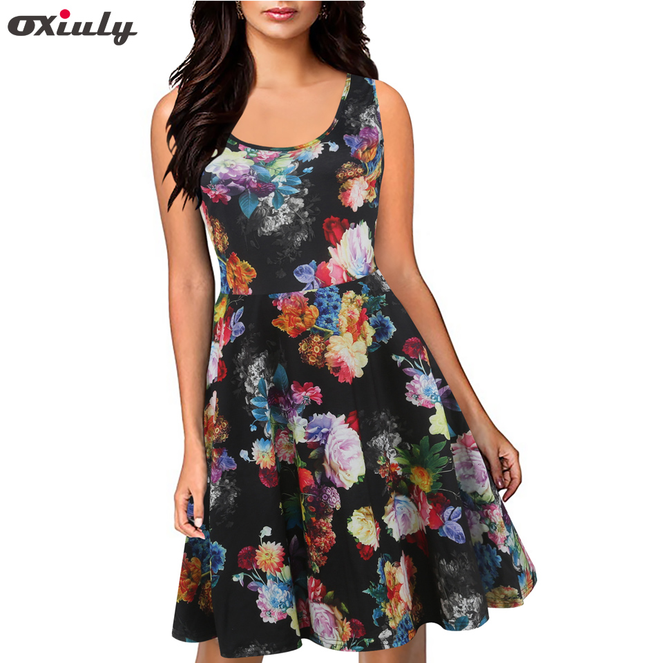 Oxiuly Print Dresses Women Sexy Summer Sleeveless A Line Dresses Evening Party Halter Tank Swing Dress Vestidos