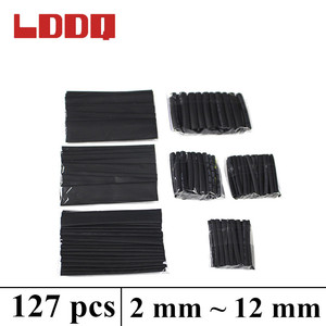 LDDQ 127pcs black heat-shrink tubing Assorted Polyolefin Heat shrinking tube Cable Sleeve Wire Cable Insulated Sleeving Tubes