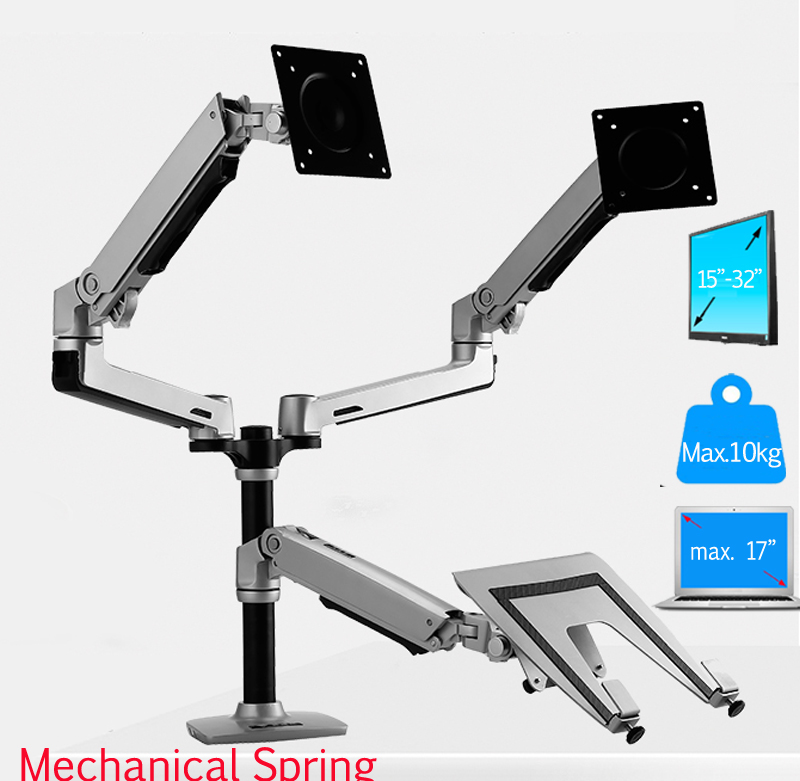 aluminum mechanical spring 10-17 laptop desktop stand +double monitor vesa mount bracket dual arm aluminum with column 15-32aluminum mechanical spring 10-17 laptop desktop stand +double monitor vesa mount bracket dual arm aluminum with column 15-32
