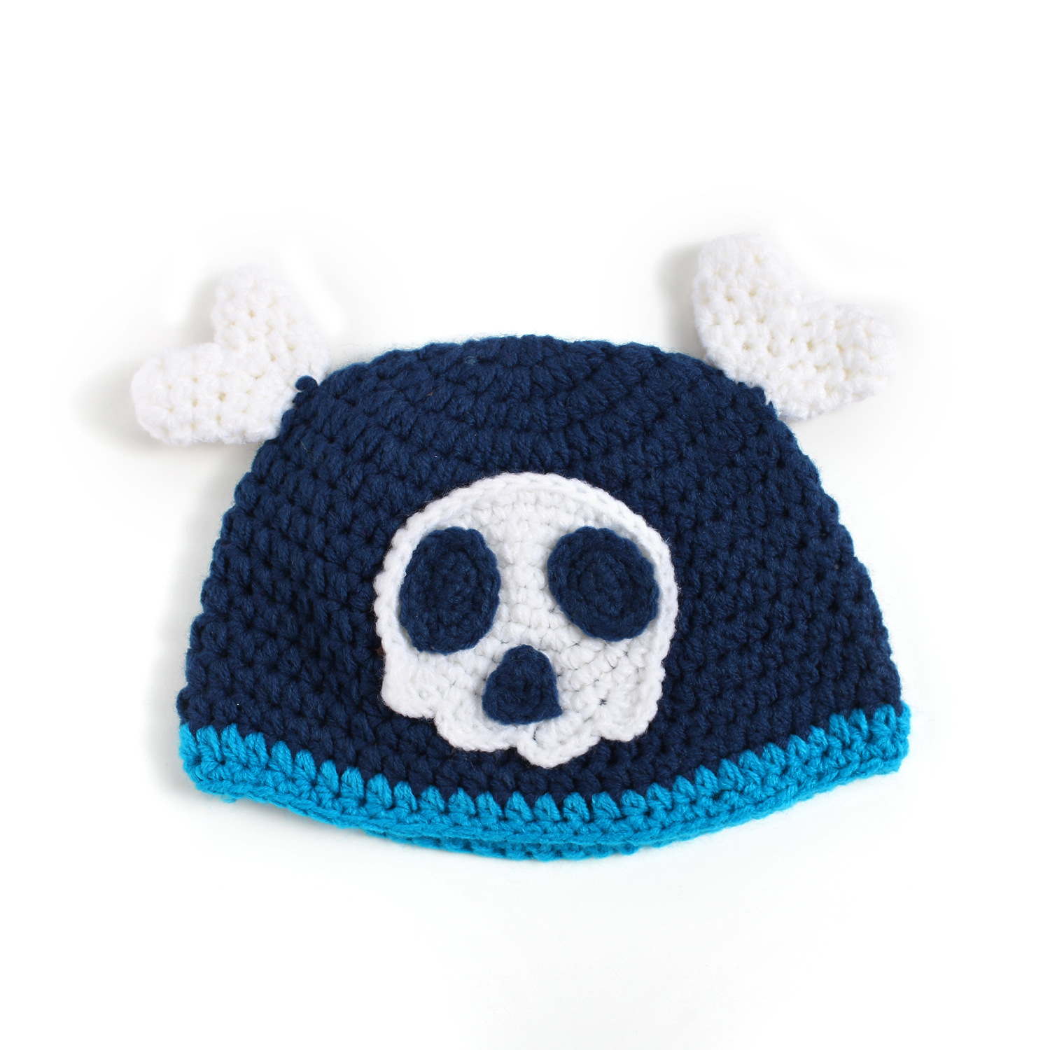 2016 New Arrival 100 Days Newborn Baby Handmade Knitted Hat Fashion Cartoon Skull Design Crochet Photo Props Pirate Caps