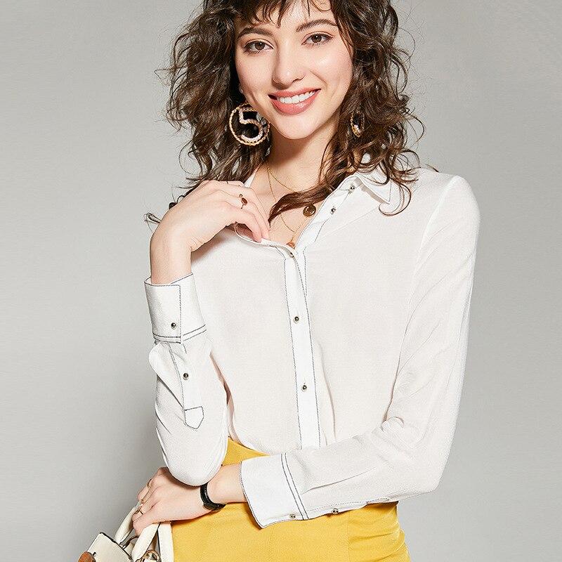 2019 printemps automne femme chemise blouse à manches longues revers blanc rouge en mousseline de soie chemise blouse mode haut pour femme g69
