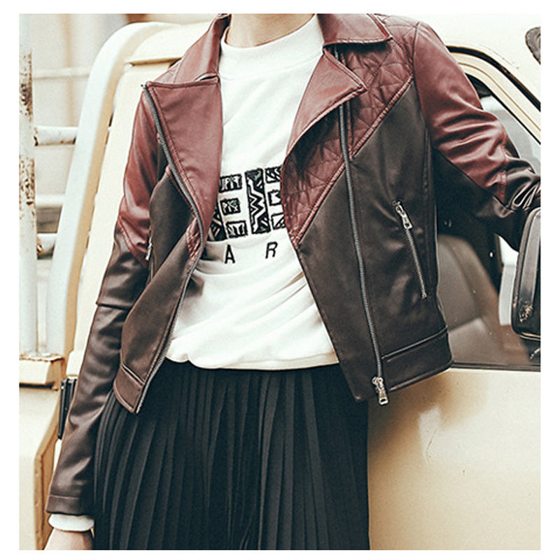Street Women's Short PU Leather   Jacket   Coats Red Color Block Ladies   Basic     Jackets   Women Motorcycle   Jackets   Autumn 2018 8MR101