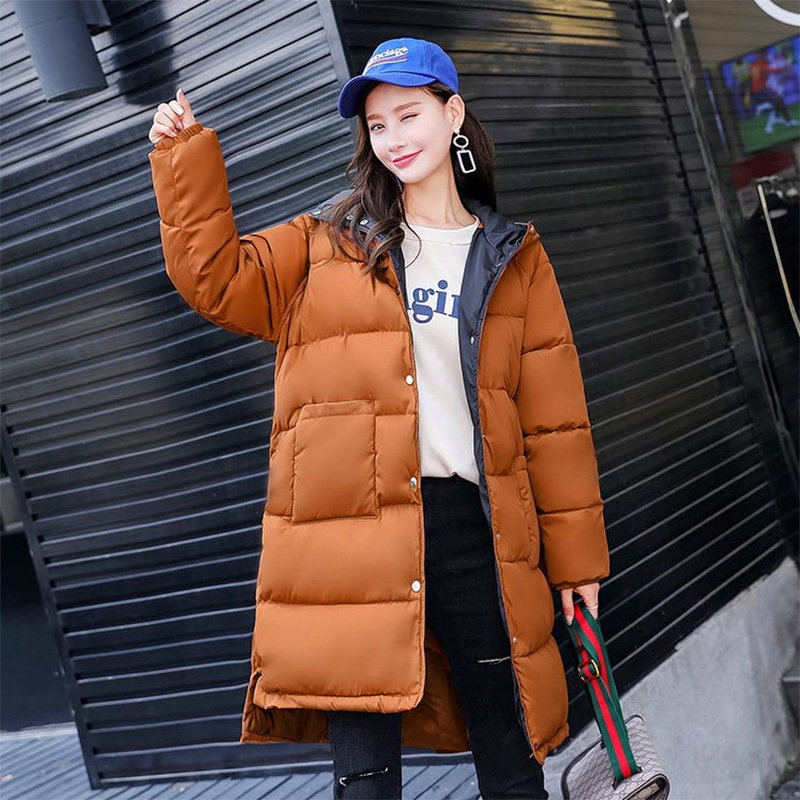 Winter New   Parka   women Hooded Coat Korean Mid Length Down Cotton jacket Solid Color Fashion Loose Thick Warm Ladies padded coats