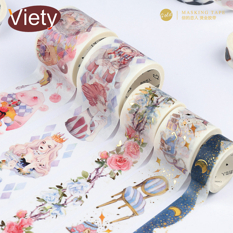 vintage alice and flower washi tape DIY decoration scrapbooking planner masking tape adhesive tape label sticker stationery 1 pc 1 5cm 10m herbaceous plant washi tape diy decoration scrapbooking planner masking tape label sticker stationery