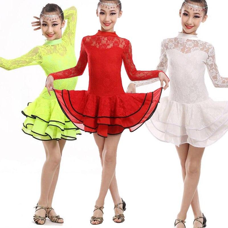 110 170cm Girl Long sleeve Fringe Paillette Latin Dance Dress Kids Lace Salsa Ballroom Dresses Tango Costume for Children