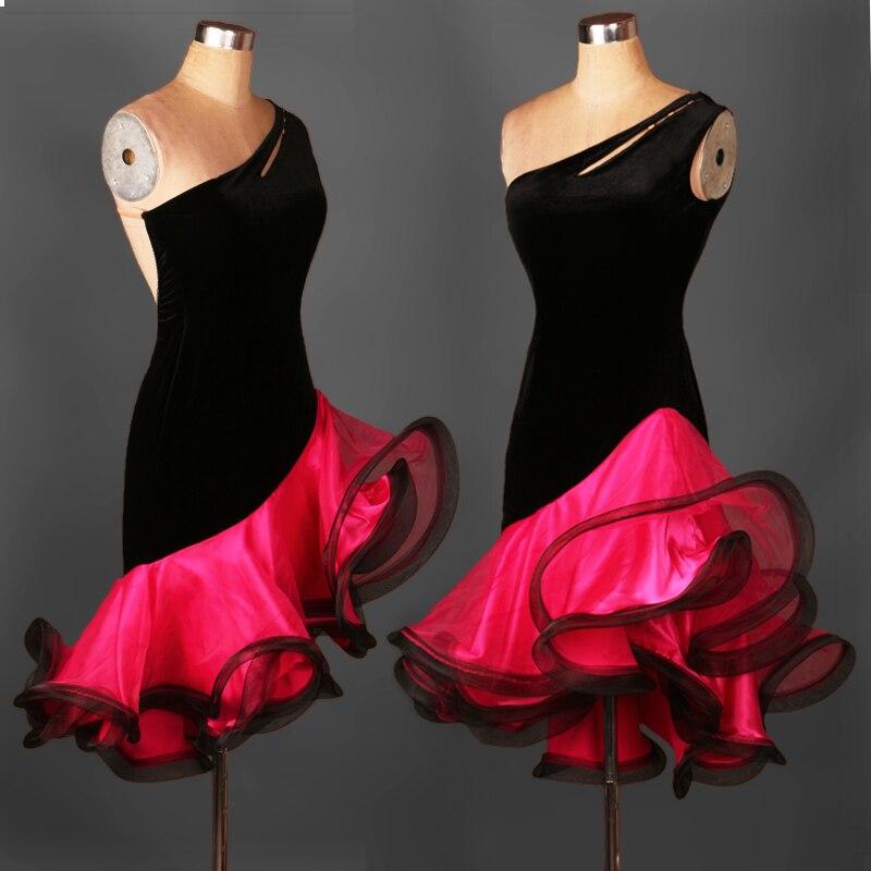 Latin Dance Dress Sexy Spandex Diamond Latin Dance Competition Dress For Lady Latin Dance Dresses  S-XXXXL L043
