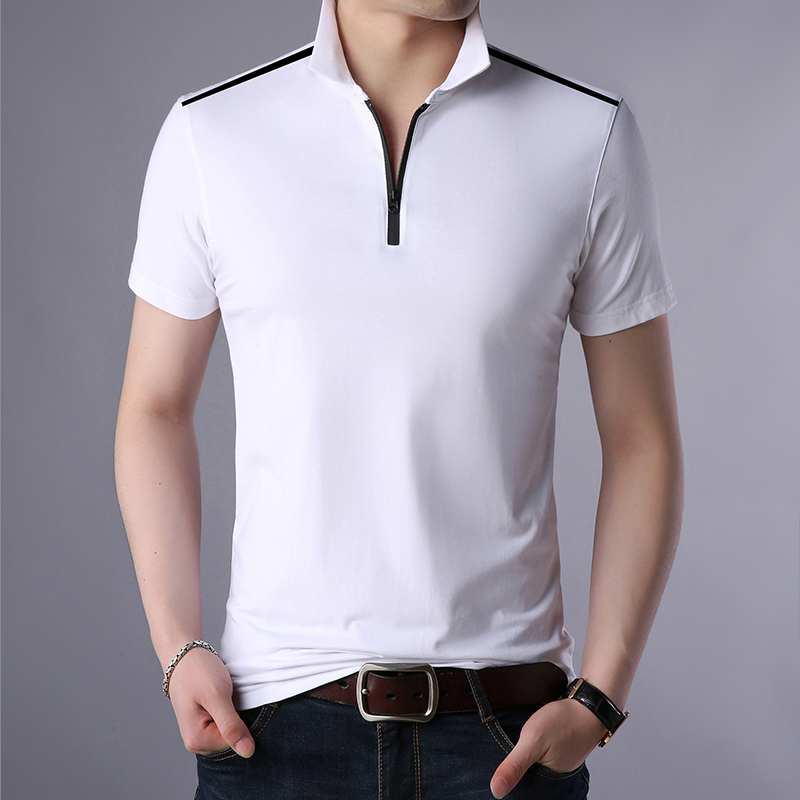 Summer Mens   Polos   New Design Male Solid   Polo   Shirts Zipper Collar Short Sleeve Tops Tee
