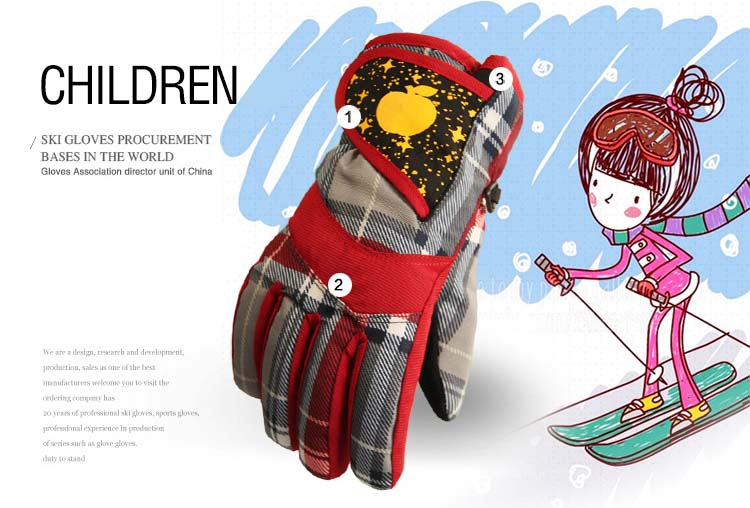 GLV859 Prevent slippery wear resisting children winter warm font b gloves b font fleece waterproof ski