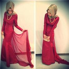Hijab Full Sleeve Red Mermaid Evening Dress 2015 Elegant Sexy Plus Size Arabic Style Muslim Prom Dresses Formal Party Gown-26