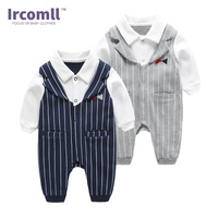 Ircomll 2018 Spring Baby Clothing Newborn Baby Boy Cotton Long Sleeved Striped Jumpsuit Lucky Child 1st Birthday Bebe Bodie Suit