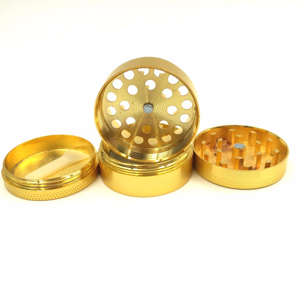 Black 4-Part Metal Herb Tobacco Grinder in Petrol Colour Green and Pink Gold