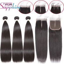 Sapphire Straight Bundles With Closure Brazilian Hair Weave Bundles With Closure Human Hair Extensions With 4*4 Lace Closure