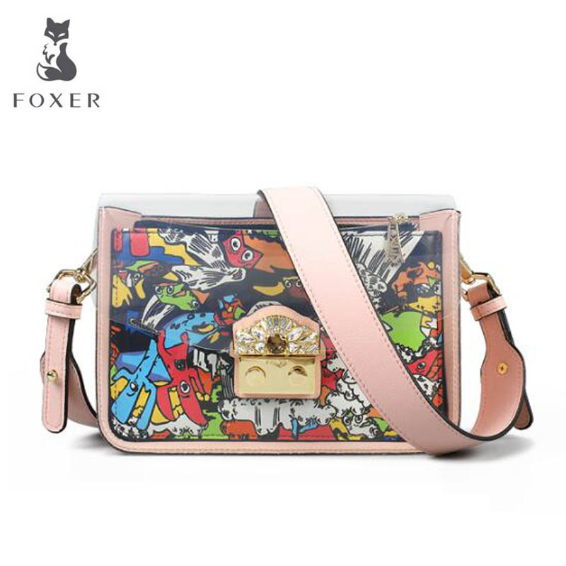 FOXER luxury fashion transparent jelly bag 2018 new summer small bag female cute shoulder girl oblique small square package tide 2018 new female korean version of the bag with a small square package side buckle shoulder messenger bag packet tide
